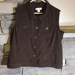 Christopher & Banks Brown Suede Vest XL